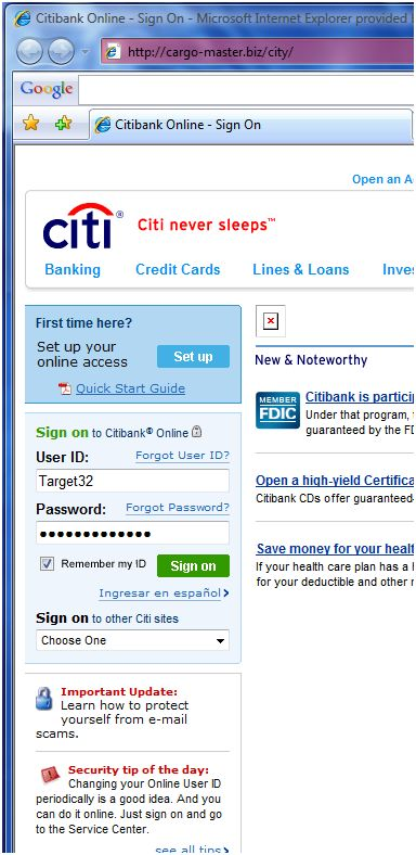 Fake Citi Site